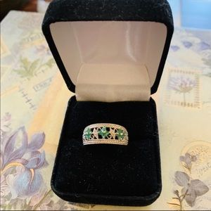 Emeralds & Diamond Chips Sterling Silver Ring Sz 7